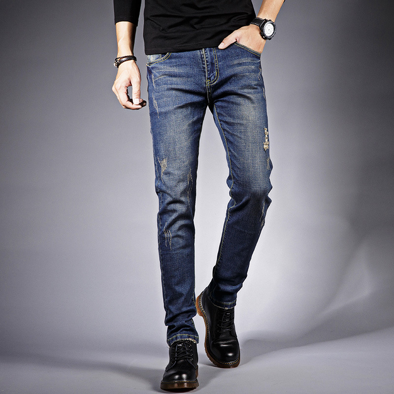 2019 Jeans Men's Straight-Cut Autumn And Winter Slim Fit Pants Elasticity JEANS 2019 New Style Teenager Thick-