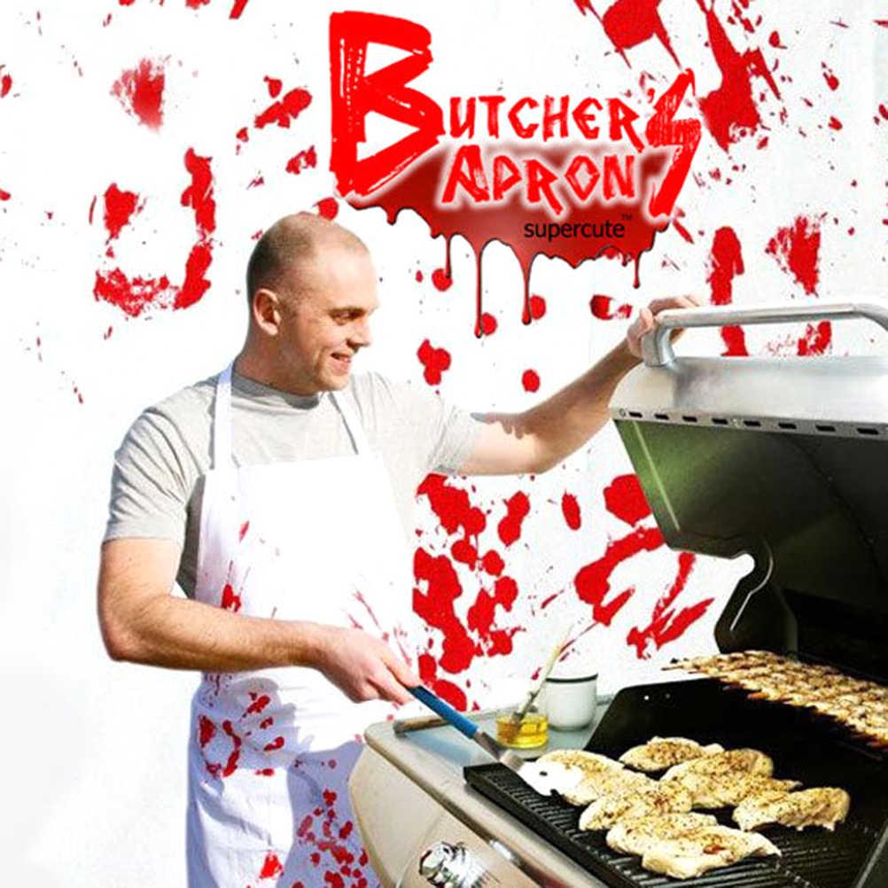 1 قطعة هالوين المئزر الشيف الرعب الدموي ساحة الكبار الطبخ جزار ساحة للجنسين المطبخ منسوجات مآزر الدعائم ل زي حزب