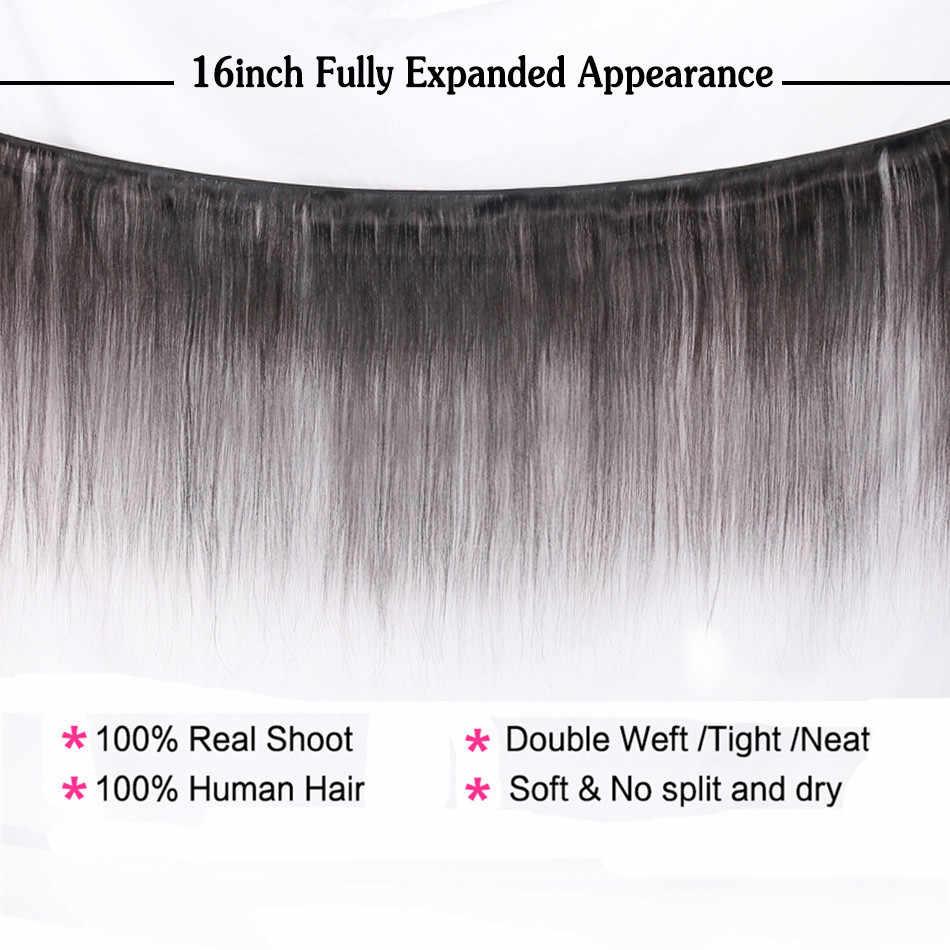 Halo Lady güzellik 3 adet Lot brezilyalı düz saç demetleri 100% insan saç örgüleri 20 22 24 inç olmayan Remy saç ekleme 1B