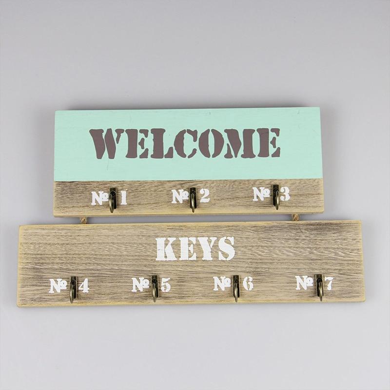 Hook Wall Hook Keys Holder Wall Home Keyboard Receipt Key Box Shelf Key Box Jewelry Shelf Wall Hanging Wooden Hook
