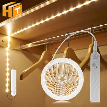 1M 2M 3M PIR Motion Sensor LED Kitchen Cupboard Light 5V USB Smart Turn On OFF Strip Tape Staris Home Wardrobe Cabinet Decor