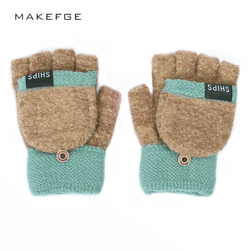 2019 New Women's Winter Gloves Fluffy Thick Autumn And Winter Warm Gloves Fingerless Full Finger Convenient Button Gloves