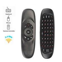 C120 フライエアマウスミニ 2.4 ghz ワイヤレスキーボードロシア/英語ハンドヘルドリモートコントロールのためのジャイロスマートテレビボックス/ミニ pc