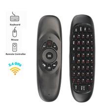 C120 Fly Air fare Mini 2.4GHz kablosuz klavye rusça/İngilizce el uzaktan kumanda ile jiroskop için akıllı TV kutusu/mini PC