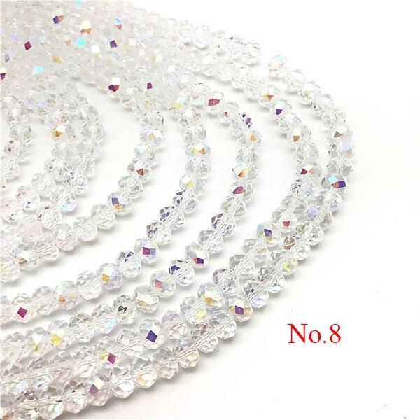 3x4 мм/4x6 мм/6x8 мм Хрустальные Круглые граненые стеклянные бусины для самостоятельного изготовления ювелирных изделий Аксессуары для ювелирных изделий - Цвет: No.8