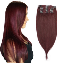 Human-Hair Extensions Clip-In Isheeny Burgundy Full-Head Brazilian 14-22-99J 8pcs/Set