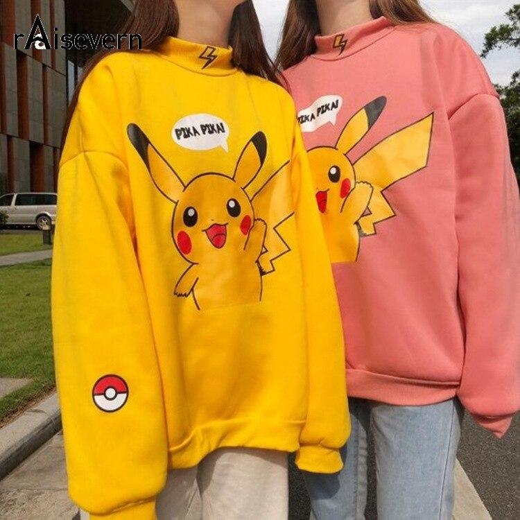 Raisevern Autumn New Pokemon Pika Letter Print Women Sweatshirt Pikachu Long Sleeve Warm High Street Pullover