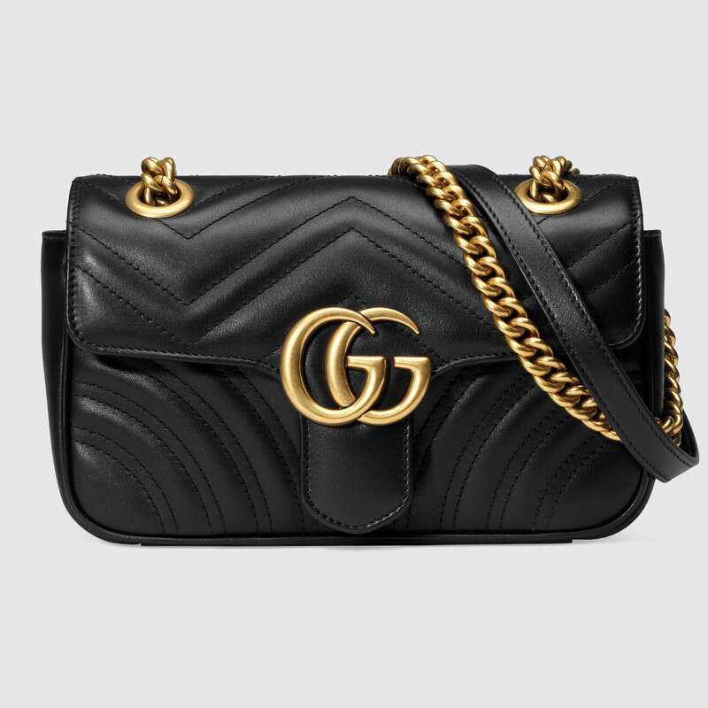 Luxury Gucci GG Marmont Matelasse Mini Leather Bag Chain Shoulder Bag Retro Women Designer Bags Famous Brand ‎ 446744 DTDIT 100