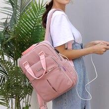 Litthing Nylon Women School Backpacks Anti Theft USB Charge Backpack Waterproof Bagpack School Bags Teenage Girls Travel Bag New