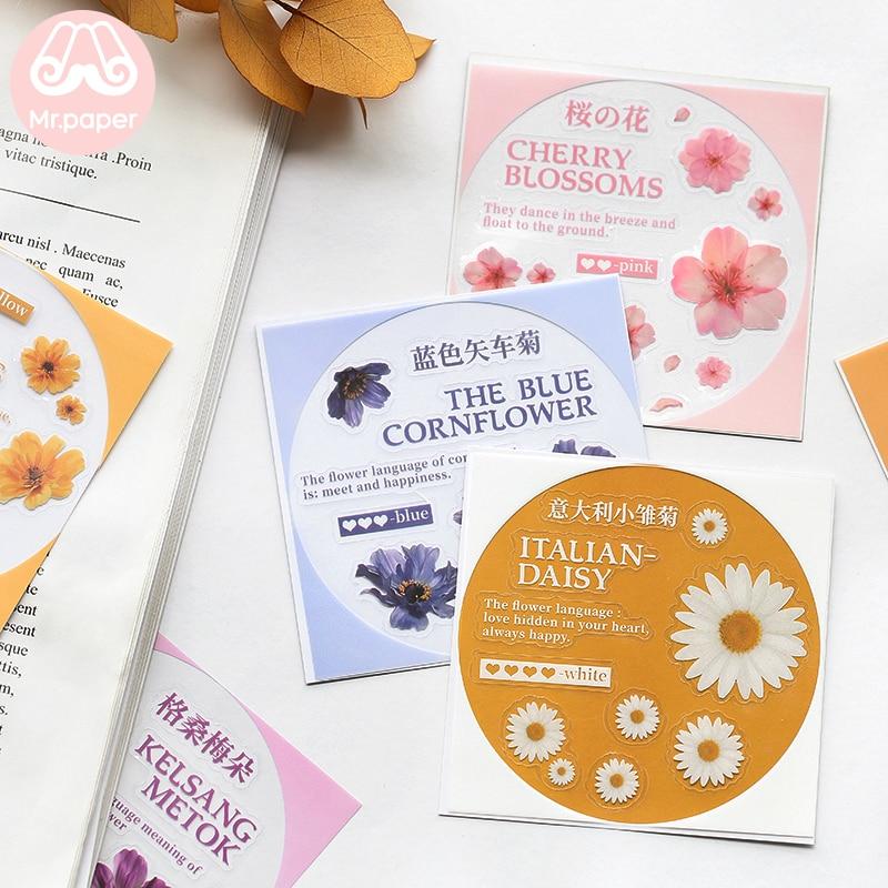 Mr.Paper 6Designs Flower Art Colour Transfer Printing Stickers Transparent PVC Material Flowers Leaves Mushroom Plants Stickers