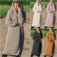 WEPBEL New Arrival Fashion Women's Hooded Thick Knitted Sweater Cardigan Coat Long Sleeve Winter Warm Hooded Cloak