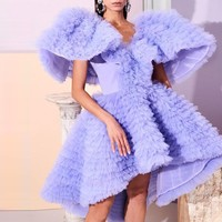 Short Party Gowns Fashion Tulle Prom Gowns Women Night Party Dresses Custom made Slay Sleeve vestido de curto abendkleider
