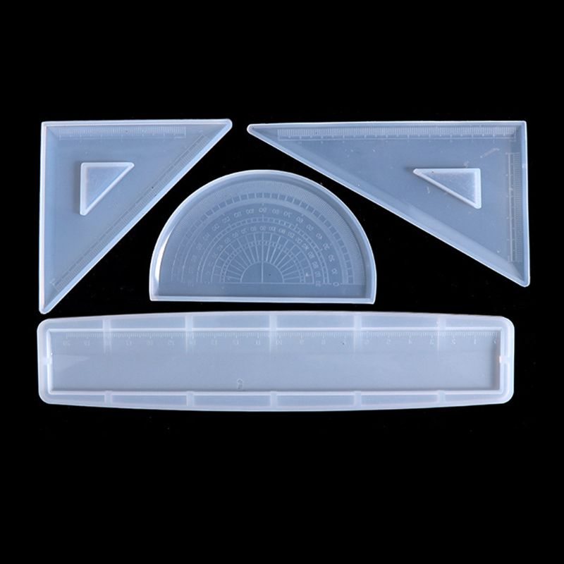 4 Shapes Silicone Resin Ruler Molds Straignt Square Triangular Rulers Protractor