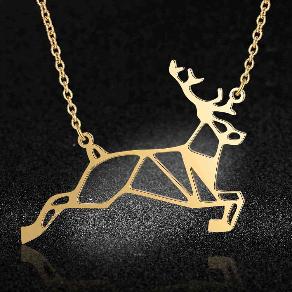 100% Real Stainless Steel 40cm Large Animal Deer Head Long Necklace Amazing Design  Jewelry Necklaces Personality Jewelry