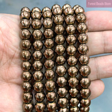 Grânulos soltos do espaçador da pedra da hematita do marrom do chocolate liso para fazer a jóia diy colar pulseira 2/3/4/6/8/10/12mm 15