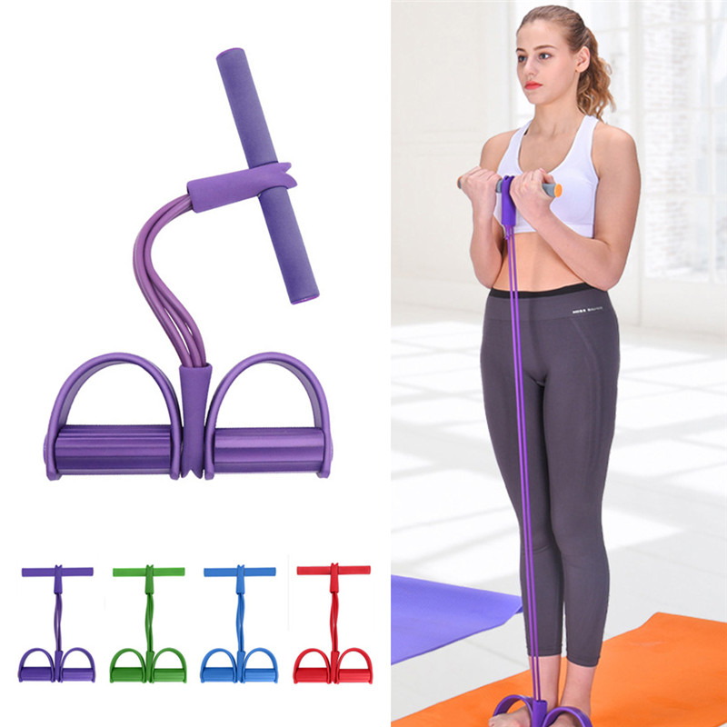 4 Tube Fitness Elastic Sit Up Pull Rope Abdominal Exerciser Home Gym Sport Equipment Pull Rope Pedal Ankle Puller Indoor