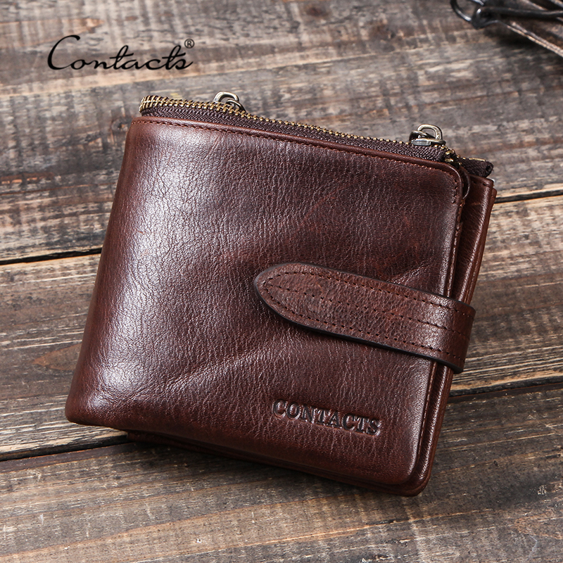 CONTACT'S RFID Crazy Horse Cow Leather Wallet Men Portomonee Card Holder Coin Purse Zipper Small Male Money Bag Brand Wallets