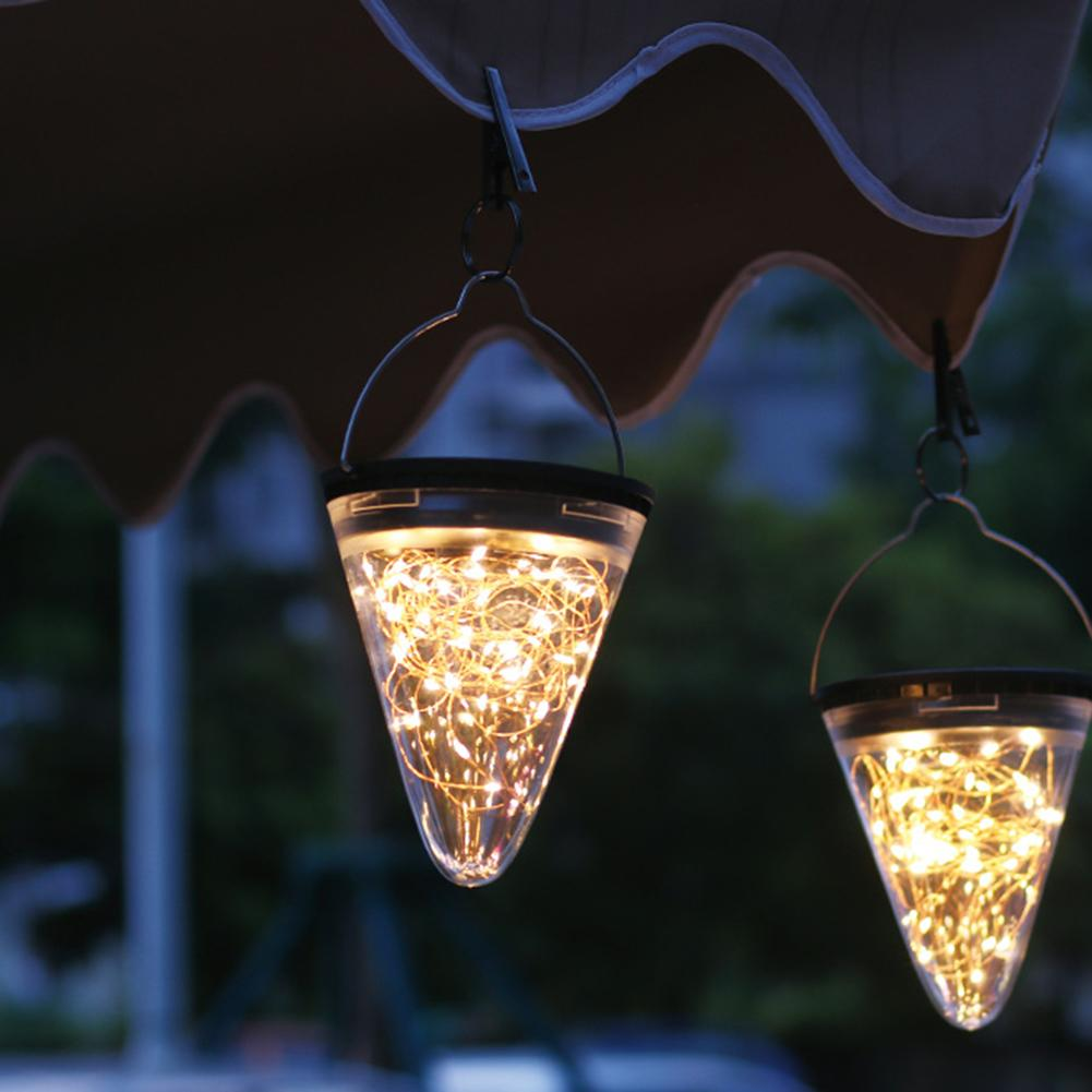 Cone Led Solar Pendant Light Tree Hanging Ambient Lamp Waterproof Outdoor Gardent Copper Wire Light Christmas Home Table Decor