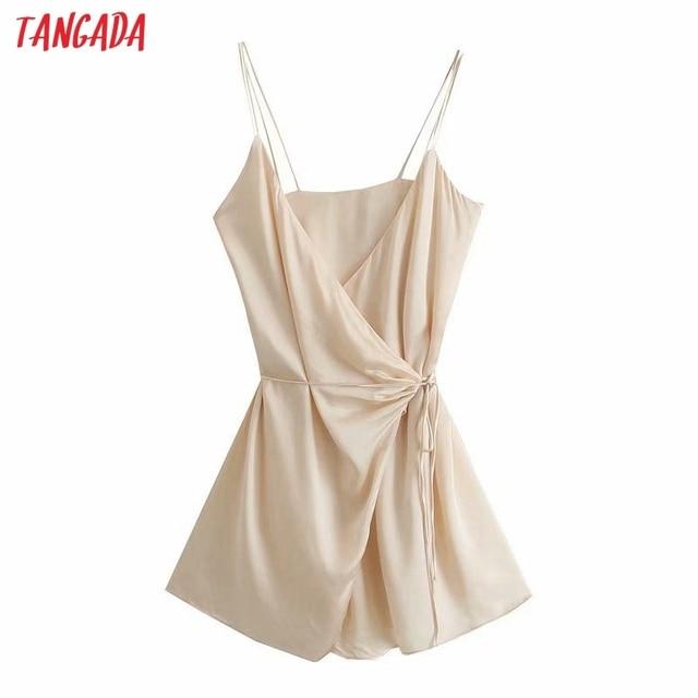Tangada Women's Summer Dress Fashion Solid Satin Dresses with Slash Bow Female Casual Beach Dress 3H287 1