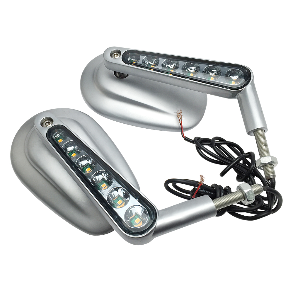 Silver Motorcycle Mirror Muscle LED Turn Signals Light Moto Rearview side mirrors case for Harley V-ROD V ROD VRSCF image