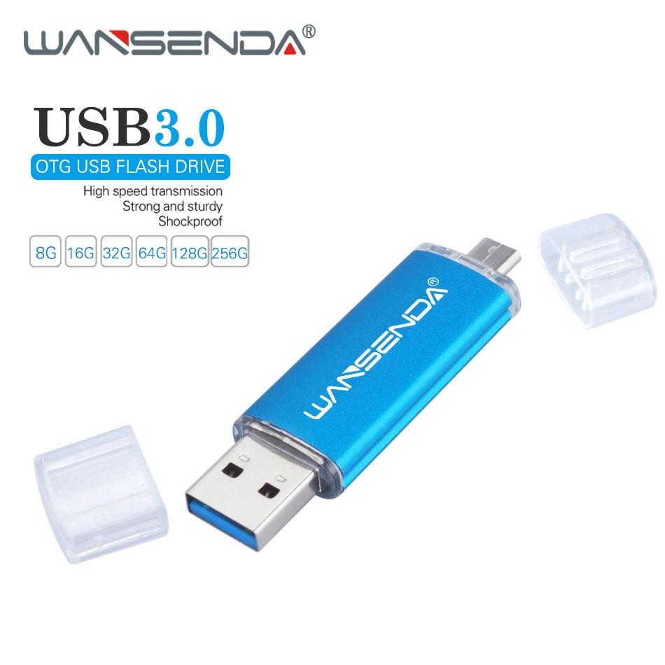 WANSENDA Fast Speed USB 3.0 OTG Pen drive 64GB Metal Flash Drive 128GB 32GB 16GB 8GB Double Use Pendrive