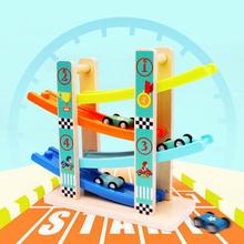 Toy Woo Kids Ramp Race Track drewniane samochody wyścigowe samochody wyścigowe zabawki dla dzieci Diecasts drewniany pociąg kolejowy Track tanie tanio Drewna CN (pochodzenie) 3 lat wooden Samochód toys for children toy car delorean fast and furious model car car model