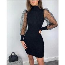 Elegant Women Knit Sweater Dress Mesh Puff Long Sleeve Turtleneck Fit D