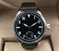 44 مللي متر GEERVO الأسود الهاتفي الآسيوية 6497 17 جواهر اليد الميكانيكية الرياح حركة ساعة رجالي الأخضر مضيئة ساعات آلية gr351-g8