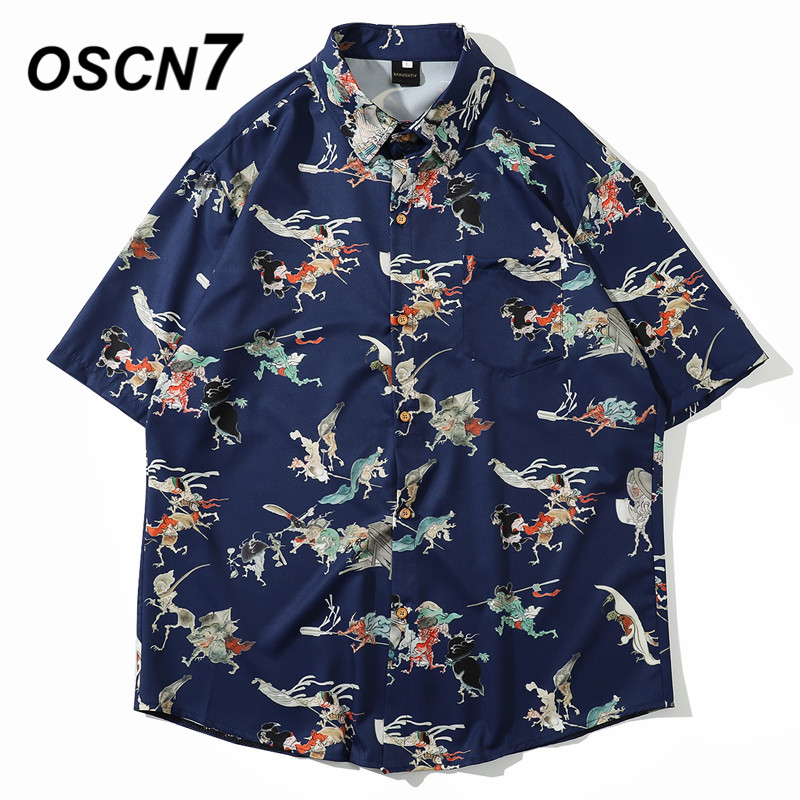 OSCN7 Casual Streetwear Beach Printed Short Sleeve Shirt Men 2020 Hawaii Oversize Fashion Harujuku Women Shirts 8011
