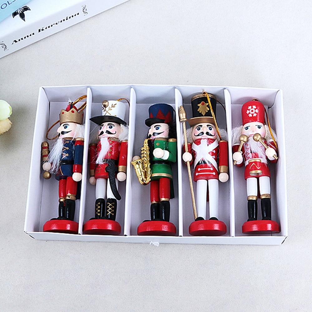 Merry Christmas Decoration Kids Nutcracker Soldier Doll 1Pcs 12cm Wooden Pendants New Year Decor Ornaments For Xmas Tree Decor,Q