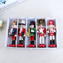 Merry Christmas Decoration Kids Nutcracker Soldier Doll 1Pcs 12cm Wooden Pendants New Year Decor Ornaments for Xmas Tree Decor,Q