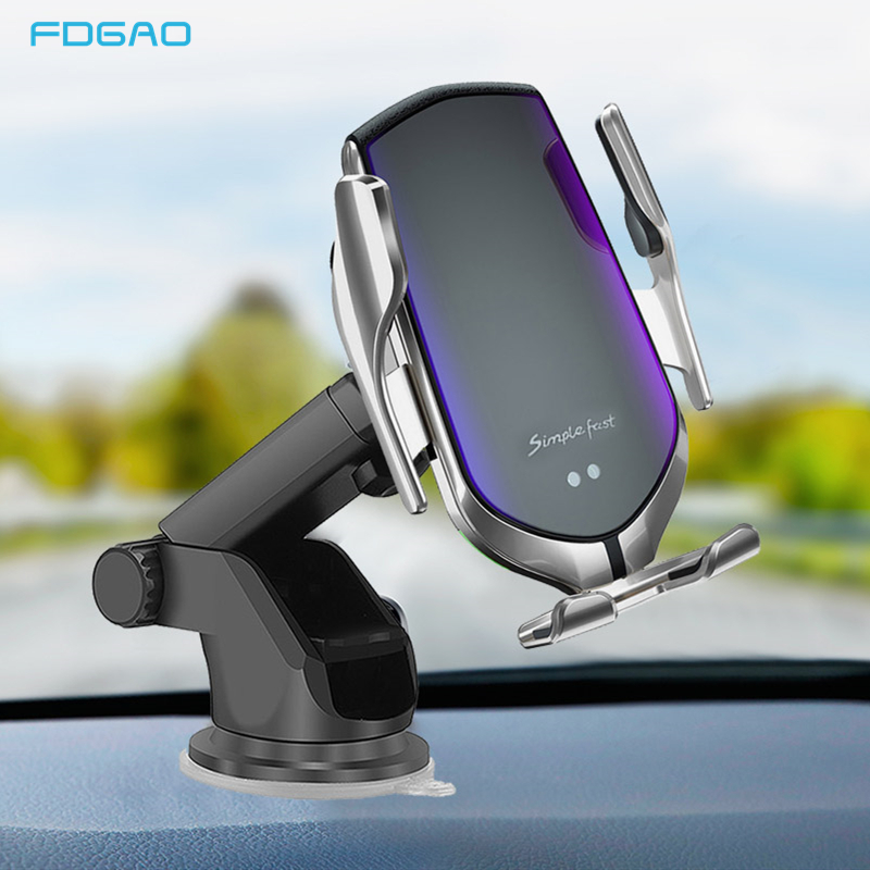 US $11.31 46% OFF|Car Mount Qi Wireless Charger For iPhone 11 Pro XS Max X XR 8 10W Fast Charging Car Phone Holder For Samsung Note 9 10 S9 S8