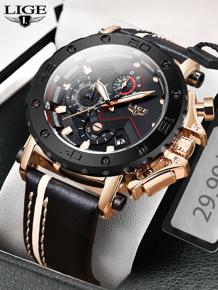 Chronograph Watch Big Dial Military Sport Waterproof Top-Brand New-Fashion Luxury Quartz