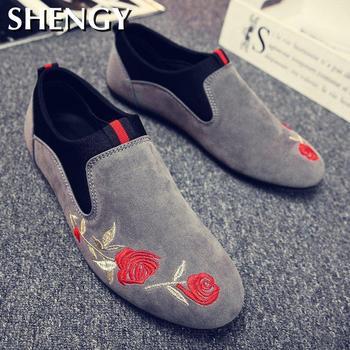 Posiłki buty lekkie buty do jazdy samochodem męskie męskie mokasyny na co dzień oddychające buty męskie płaskie buty moda płócienne buty buty do jazdy samochodem mężczyźni tanie i dobre opinie shengmiao Flock CN (pochodzenie) RUBBER Slip-on Pasuje prawda na wymiar weź swój normalny rozmiar Podstawowe L160 Kwiatowy