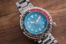 цена SBBN031 Blue Dial Rotating Ceramic Bezel Sapphire 300M WR NH35 Automatic Movement Diving Watch онлайн в 2017 году