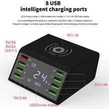 3.0 chargeur rapide sans fil pour 8 ports Port USB LED Charge rapide pour iphone XR Max Samsung S9 Huawei P20 Xiaomi Cc9 Pro