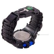 QMXD Men's Sports Waterproof Luminous Watch Thermometer Compass Whistle Field Survival Braided Bracelet Electronic Smart Watch braided strand bracelet watch