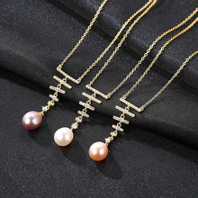 Korean Version of Womens Necklace S925 Pure Silver Natural Freshwater Pearl Micro-inlaid 3A Zircon Jewelry Wholesale
