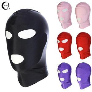 Mascarilla de LICRA para juego de rol, máscara erótica de cuero y látex con capucha abierta, fetiche