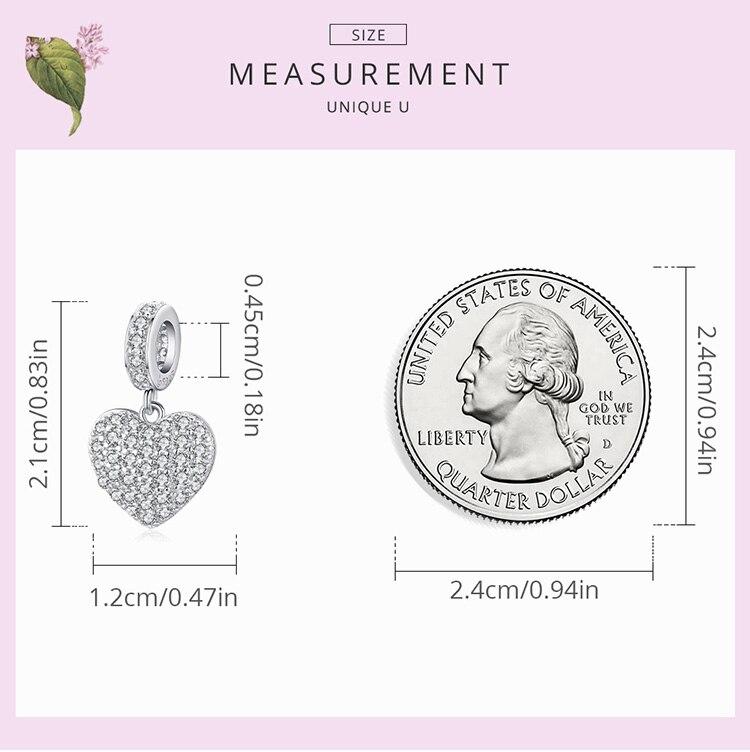 heart size  925 Sterling Silver Three-dimensional Letters LOVE Charm Flower Snowflake Love Family for Bracelet Women DIY Fine Jewelry
