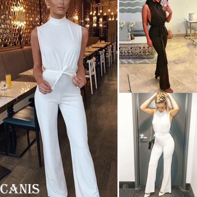 New women's high waist high collar sleeveless loose sexy jumpsuit party temperament jumpsuit