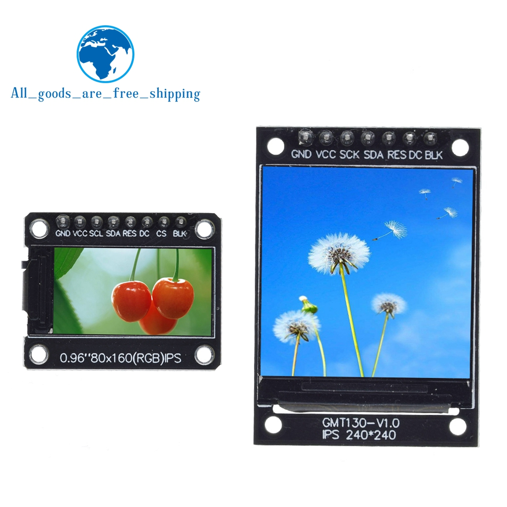 Tzt tft display 0.96 / 1.3 polegada ips 7 p spi hd 65 k módulo lcd a cores completas st7735 drive ic 80*160 (não oled) para arduino
