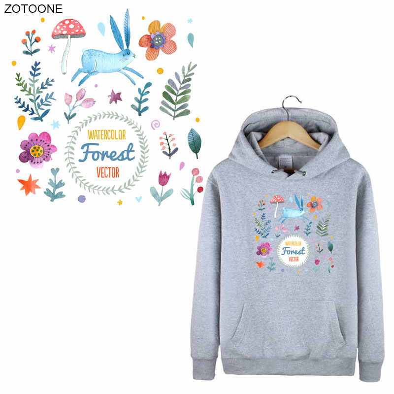 ZOTOONE Bloem Konijn Patches Ijzer op Patch voor Kleding Pasen Brief Sticker voor Kids Heat Transfers Toepassingen DIY Applicaties