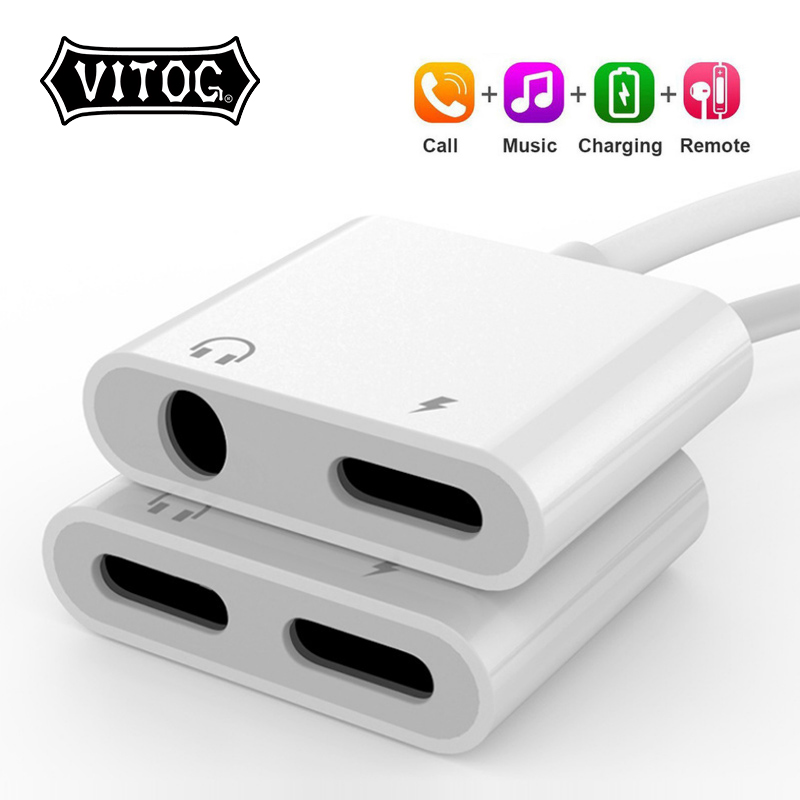 2-In-1 Adapter Cable-Splitter Charging-Lightning Apple iPhone Xs 8-Plus AUX To for MAX
