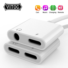 2-In-1 Adapter Cable-Splitter Charging-Lightning Apple iPhone 8-Plus AUX To for XS MAX