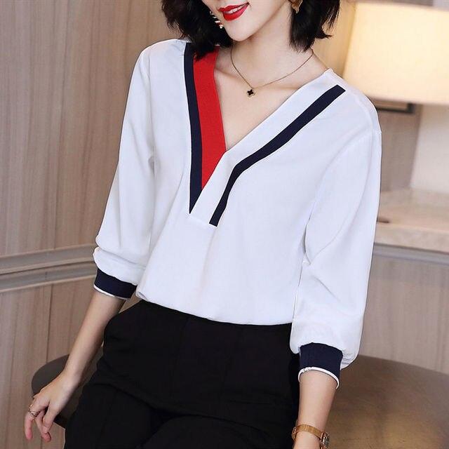 Women's Spring Summer Style Chiffon Blouses Shirt Women's V-Neck Three Quarter Sleeve Splicing Korean Elegant Tops DD9036 6