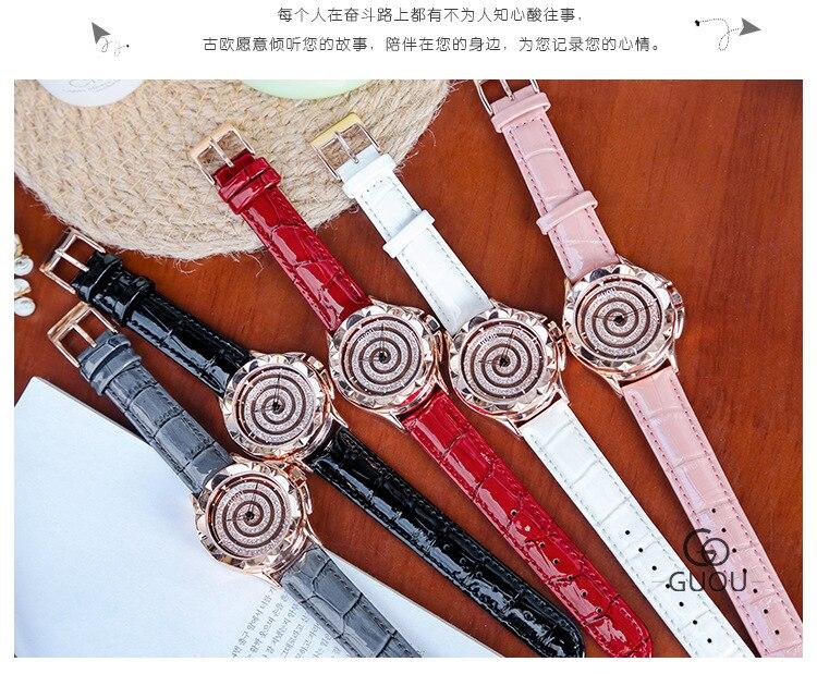 Estilo coreano moda novo relógio espiral redonda