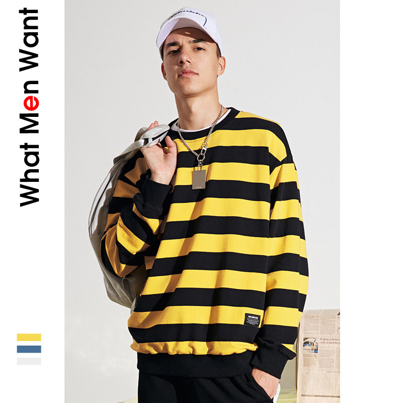 GUYI Yellow Striped Knitted Sweater Men White Long Sleeve O neck Jumpers MaleBlue Fashion Casual Hip Hop Streetwear Pullovers