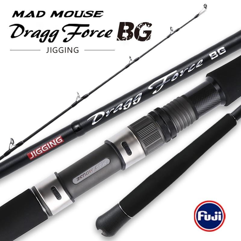2020 MADMOUSE New Japan Full Fuji Parts Jigging Rod 1.9m PE4-8 Lure 350g Drag 30kg Spinning/Casting Boat Rod Ocean Fishing Rod