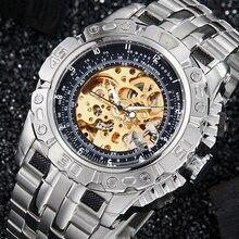 Luksusowy automatyczny zegarek mechaniczny mężczyźni pełna stal srebrny złoty szkieletowy zegarek zegar samonakręcający duża tarcza relogio masculino